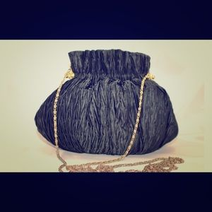 Vintage - black, satin evening bag with chain